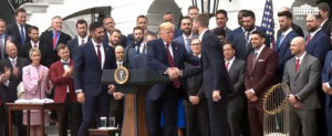 President Trump Welcomes Baseball World Series Team to White House