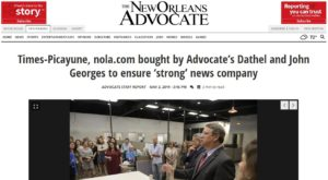 Times-Picayune, nola.com bought by Advocate's Dathel and John Georges to ensure 'strong' news company