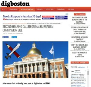 SECOND HEARING CALLED ON MA JOURNALISM COMMISSION BILL