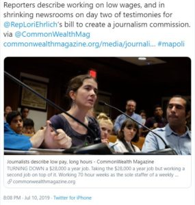 Mass Journalism Disaster – Working Journalists describe low pay, long hours during Bill 181 2nd State House hearing