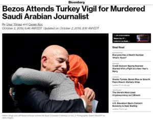 Mogul Jeff Bezos attends Vigil for Murdered Journalist Jamal Khashoggi in front of Saudi Arabia's consulate in Istanbul – Travel Advisory: Saudi Arabia – Level 2: Exercise Increased Caution